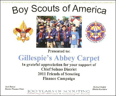 Gillespie's Abbey Carpet & Floor in Fairfield, CA proudly supports the Boy Scouts of America.