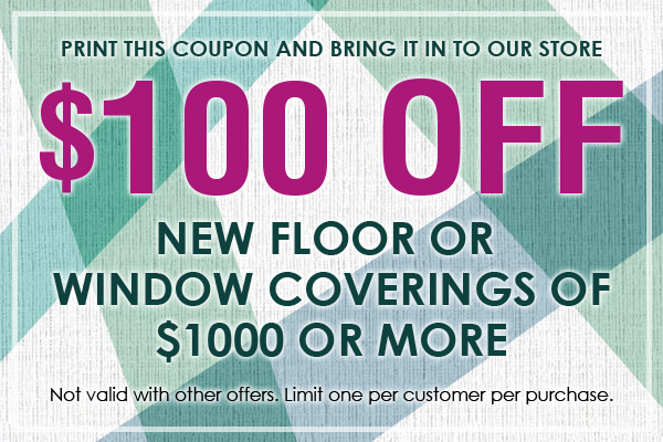 Receive $100 new floor or window coverings of $1000 or more at Gillespie's Abbey Carpet & Floor.