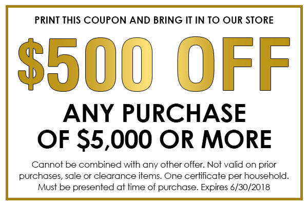 Coupon - $500 off any purchase of $5000 or more!