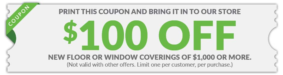 $100 off New Floor or Window Coverings coupon at Gillespie's Abbey Carpet & Floor